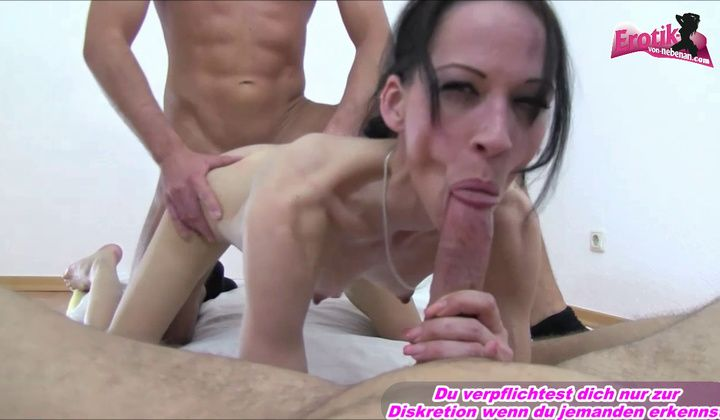 Blowjob - German Anorexic Very Skinyn Teen Threesome Amateur First Ti…